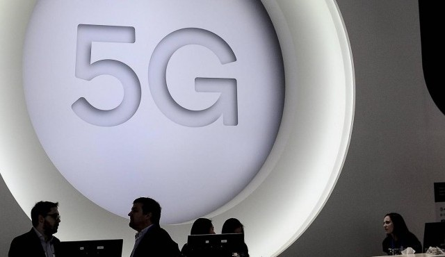 March 1, 2018 - Barcelona, Spain - 5G logo during the Mobile World Congress day 4, on March 1, 2018 in Barcelona, Spain.  (imago / Joan Cros)